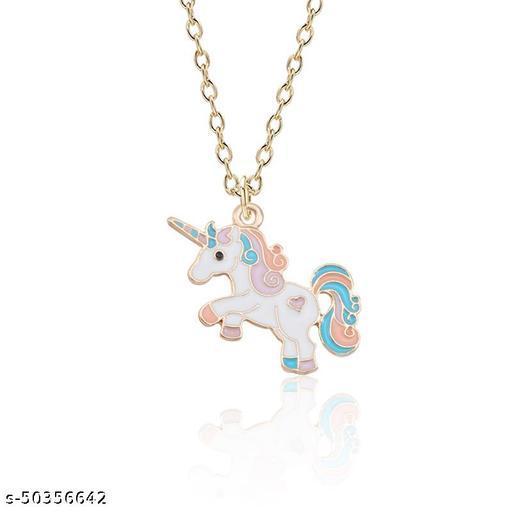 CUTIEPIE Unicorn Pendant Alloy Neck Chain for Girls /  Women - Pink & Blue