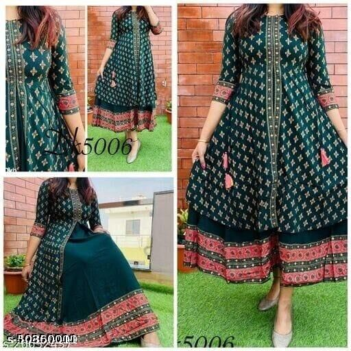 RAYON BEAUTIFUL PRINTED PREETY LOOK INNER OUTER STYLE GOWN