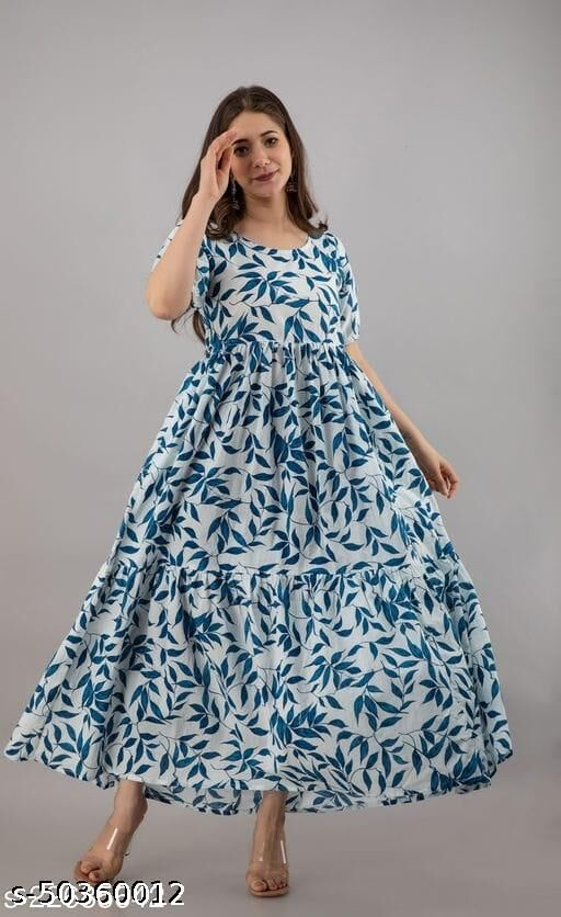 RAYON BEAUTIFUL FLOWER PRINTED FLARED GOWN