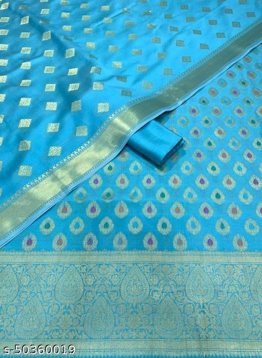 (9Aqua Blue) Banarsi Multi Mina Silk Suit And Dress Material