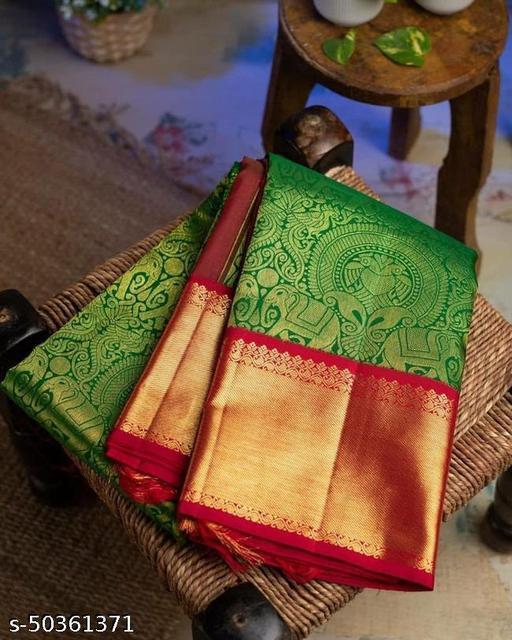 Women's Jacquard Silk Blend Saree With Blouse Piece
