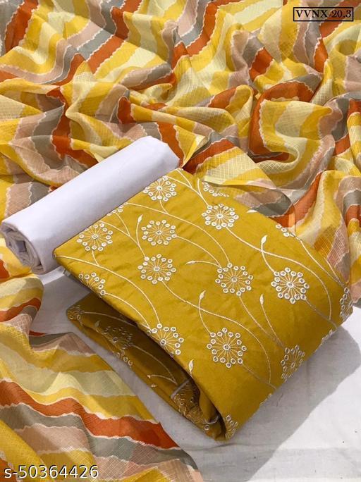 Vrindavrihas Slub Cotton Dress Material Suit  For Women