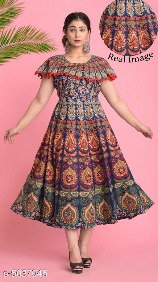 Printed Navy Blue Calf-Length Cotton Dress