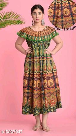Printed Green Calf-Length Cotton Dress