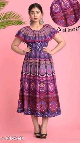 Printed Purple Calf-Length Cotton Dress