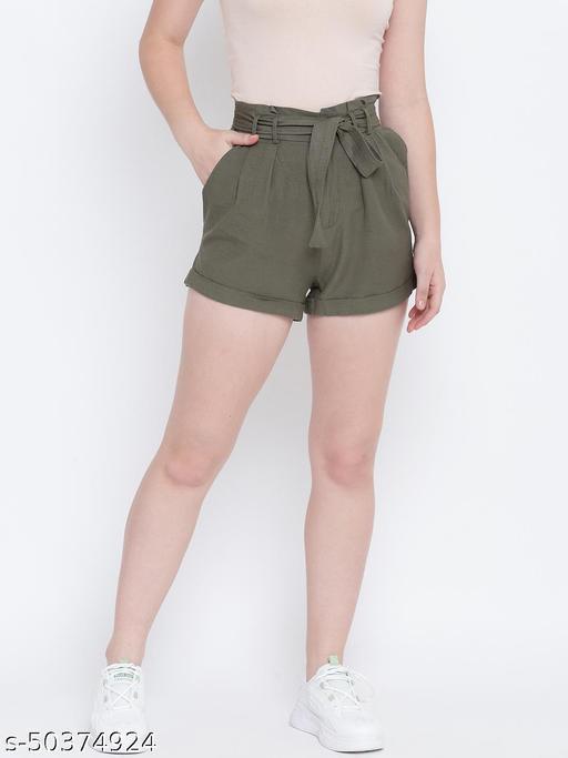 Crispy glint khaki causal women linen short