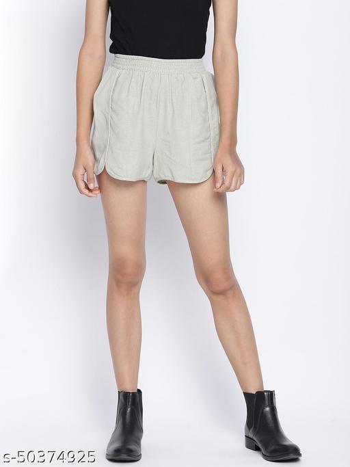 Refreshing mint green women linen blend shorts