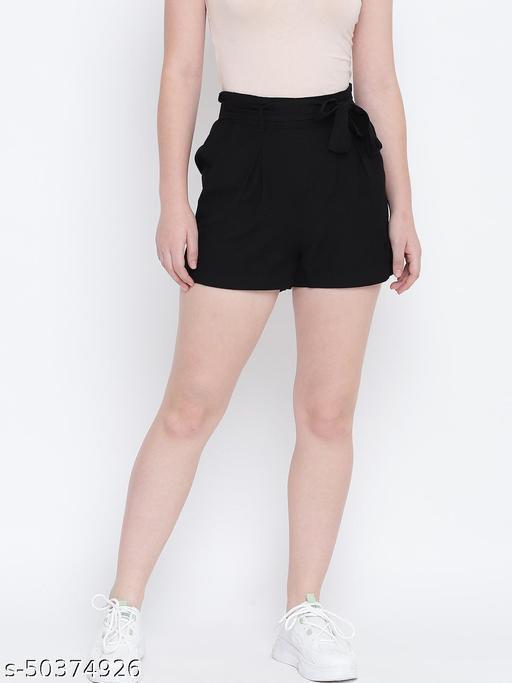 Dapper ritzy black elascticated casual women Linen shorts