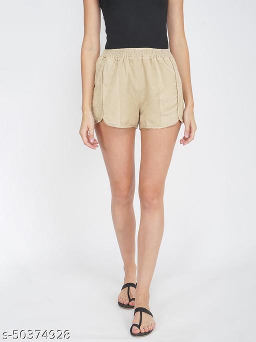 Basic Beige Women's Smocked waist Shorts