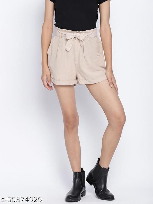 Cream dream trendy women linen blend shorts