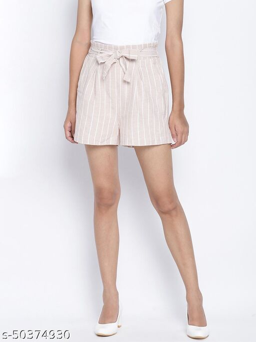 Oxolloxo Stripes on stripes casual women linen blend  shorts