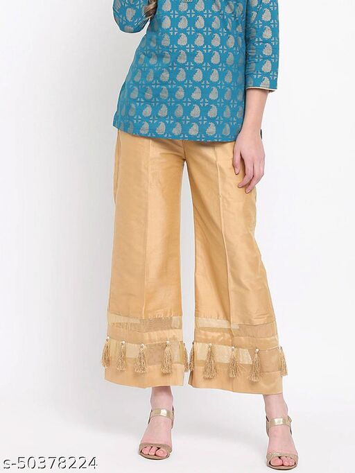 Partywear Designer Fancy Trendy Shear Panel GOLDEN Cotton Silk Palazzo with Cotton Lining