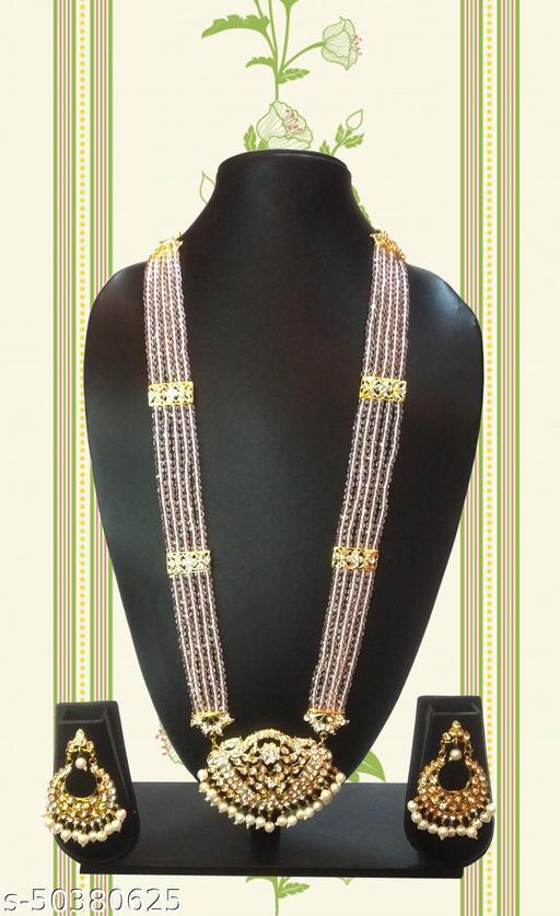 Stylish crystral pearls long rani haar