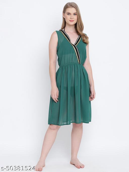 Playful combat green lace design beachwear Dress