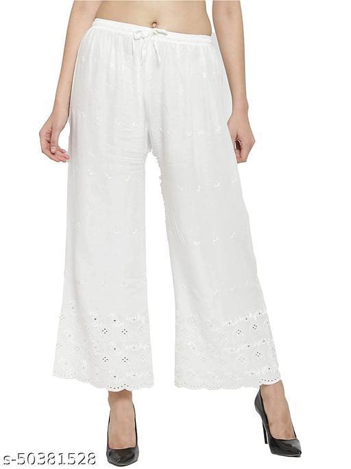 SUPRYIA Women's Half Chikan Embroidered Rayon Regular Fit Palazzos White Palazzos