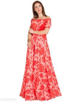 Women's Printed Pink Georgette Dress