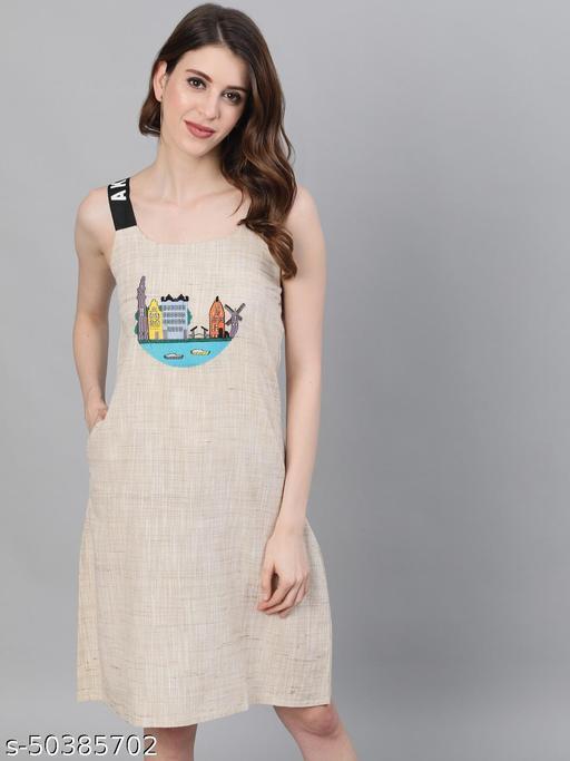 Cream Amsterdam Embroidered Shift Dress