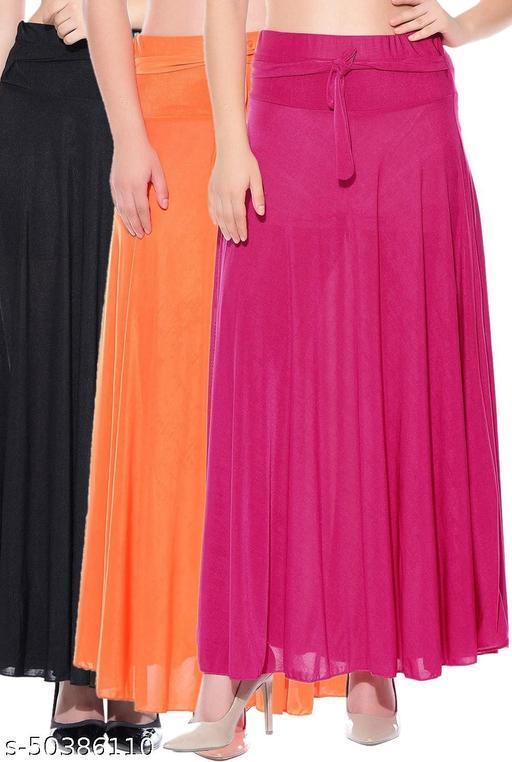 Dashy Club Combo of 3 Pcs Black Orange Pink Solid Crepe Full Length Flared Skirts