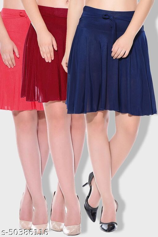 Dashy Club Combo of 3 Pcs Red Maroon Blue Solid Crepe Mini/Short Length Flared Skirts