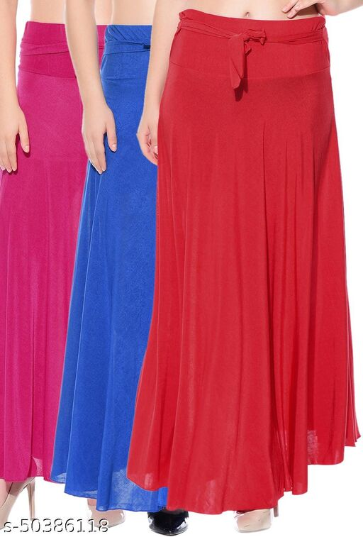 Dashy Club Combo of 3 Pcs Pink Blue Red Solid Crepe Full Length Flared Skirts