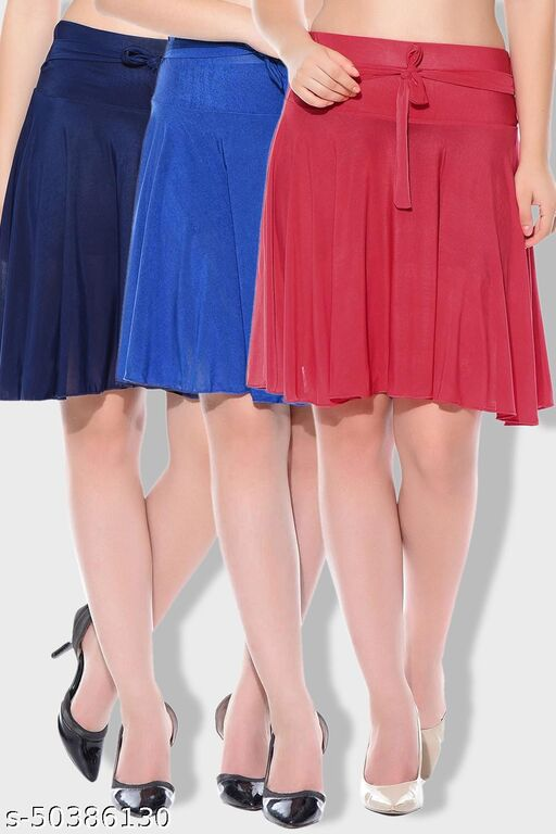 Dashy Club Combo of 3 Pcs Blue Blue Red Solid Crepe Mini/Short Length Flared Skirts