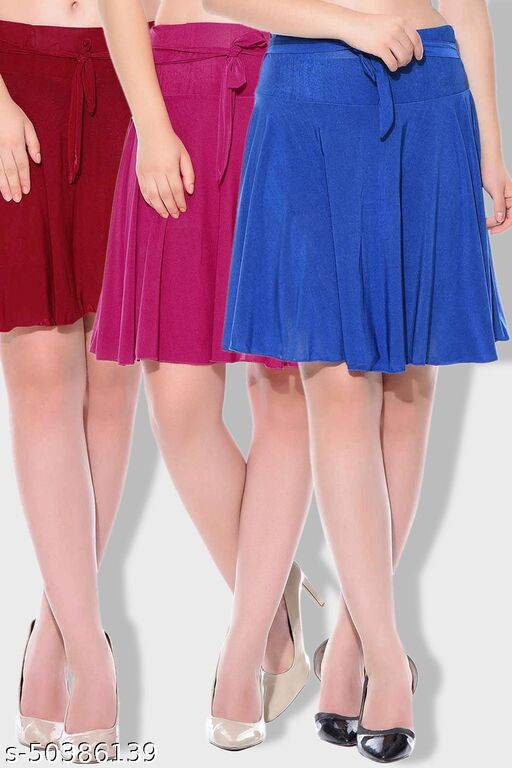 Dashy Club Combo of 3 Pcs Maroon Pink Blue Solid Crepe Mini/Short Length Flared Skirts