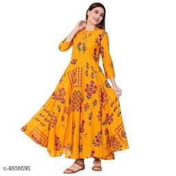Women Rayon Flared Printed Yellow Kurti