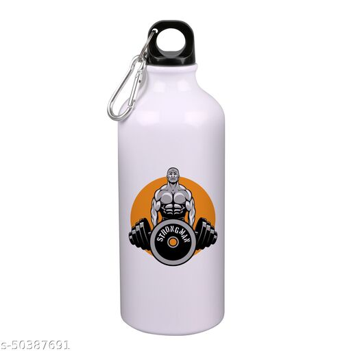 RADANYA  Strong Gym Printed Sipper Water Bottle Sports Water Bottle Sleek  Insulated For Gym, School, Sports, Yoga Cyclists, Runners, Hikers,  Beach Goers, Picnics, Camping, 600 ML