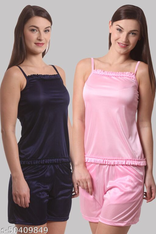 Grishma Garments Solid Navy And Light Pink Combo Pack Of 2 Set Night Suit