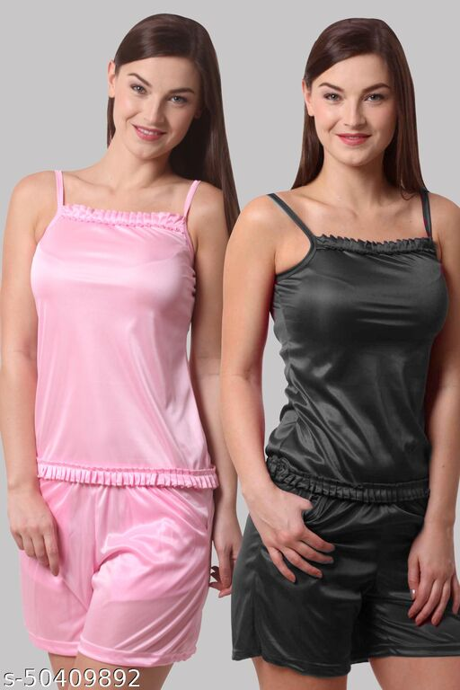 Grishma Garments Solid Light Pink And Black Combo Pack Of 2 Set Night Suit