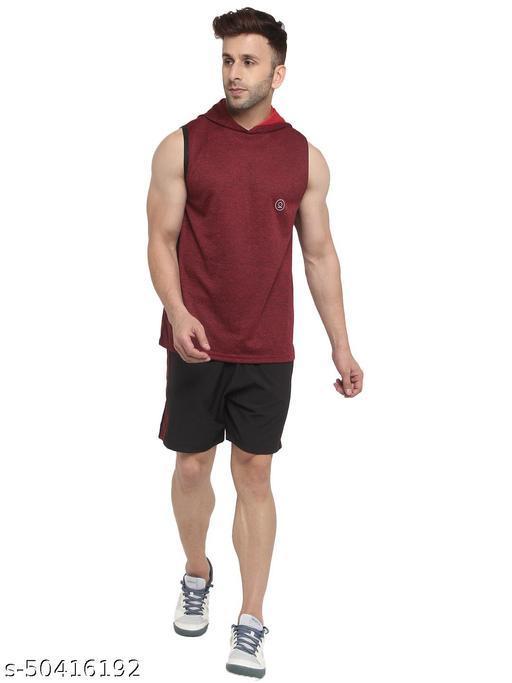 CHKOKKO Men Sports V Neck Tshirt with Shorts