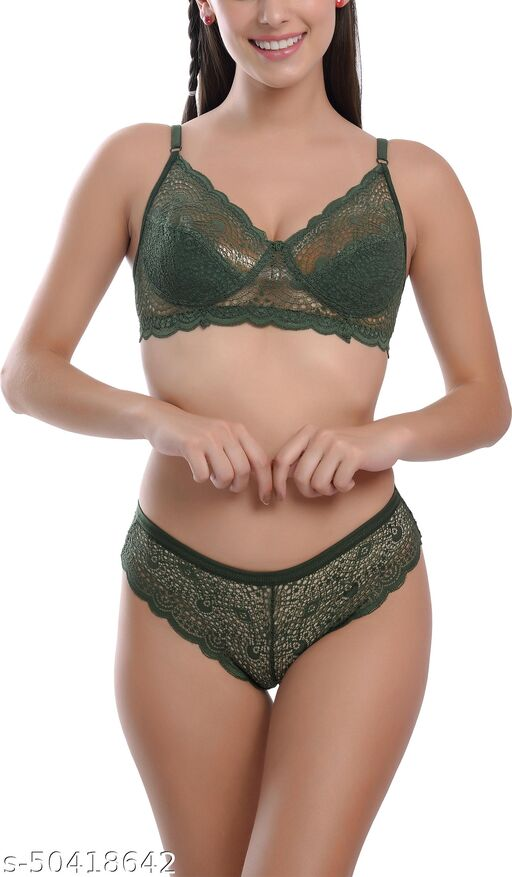 FIMS - Fashion is my style Cotton Lycra Net Bra Panty Set for Women, Non-Padded, Non-Wired, Seamed, Floral Print, Green, Cup-B,