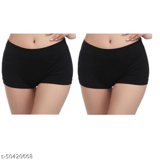 Women Boy Shorts Black Cotton Blend Panty (Pack of 2)