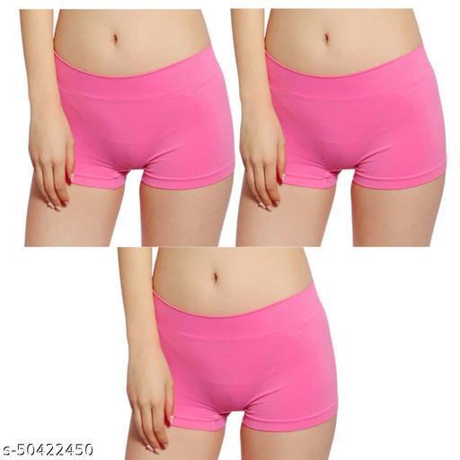 Women Boy Shorts Cream Cotton Blend Panty (Pack of 3)