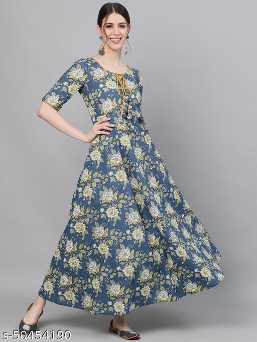 Blue & Yellow Floral Printed kurtis