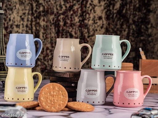 Handcrafted Ceramic Pastel Conical Multicolor Microwave Safe Chai/Tea Cups Serving Tea Mugs Set ,180 ml Set of 6