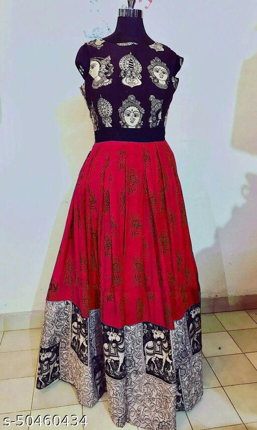 Janvi Fashion Red Durga Puja Special Designer Printed Gown