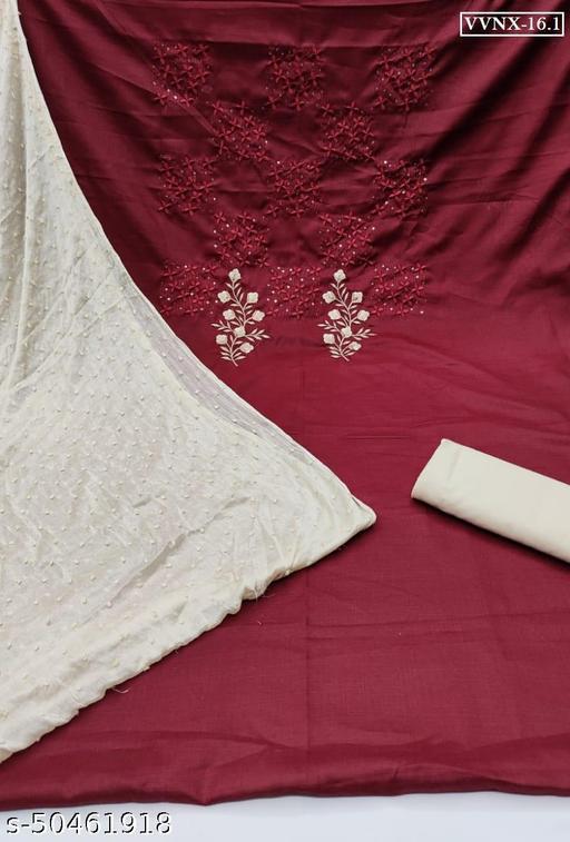 Vrindavrihas Pure Silk Cotton Dress Material Suit  For Women