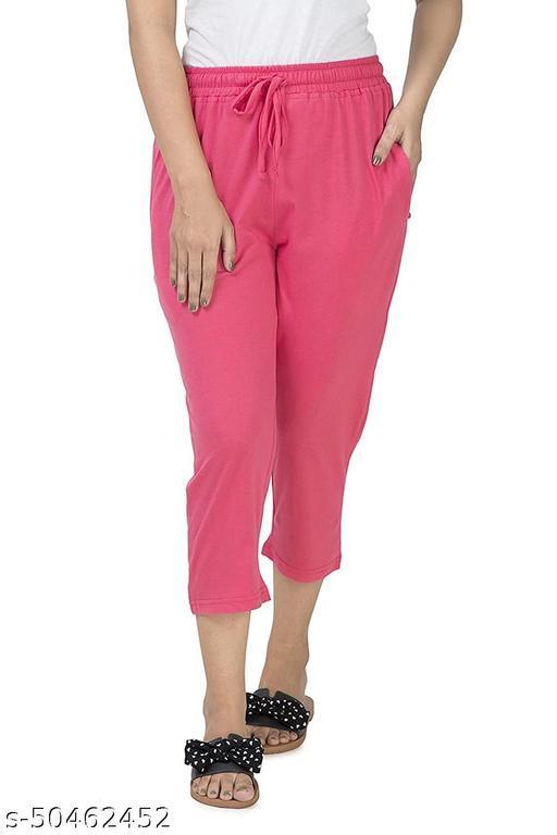 BellPaper's Women's Cotton Capri, Capri for Women, Nightwear Capri for Women, Printed 3/4 Pyjama Stretch Cotton Lounge Capri0036-Pink_qw