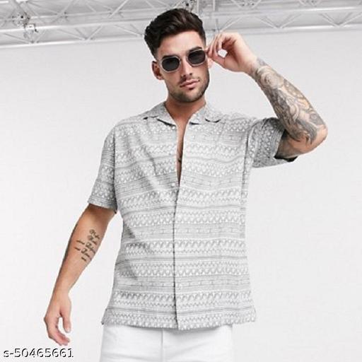 Trendy Modern Printed Rayon Shirt For Men White