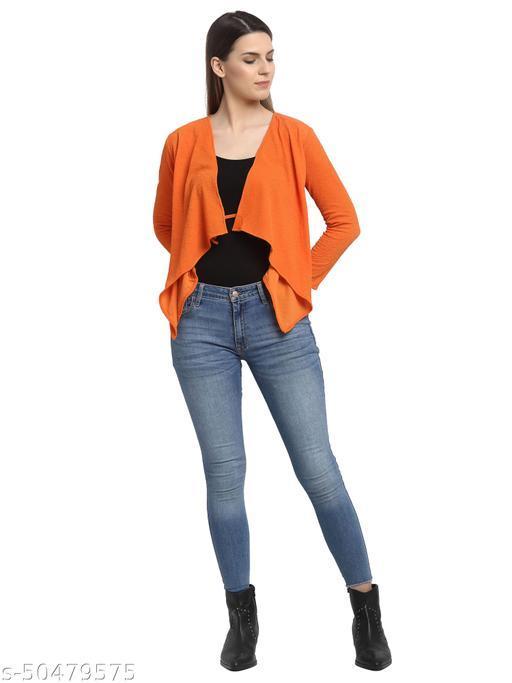 Aujjessa Orange Solid Shrug