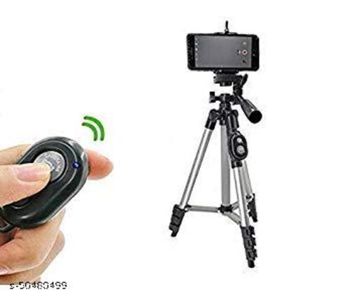 3110 Portable Adjustable Aluminum Lightweight tripod Stand and Wireless Bluetooth Remote Control Camera Shutter(Black)