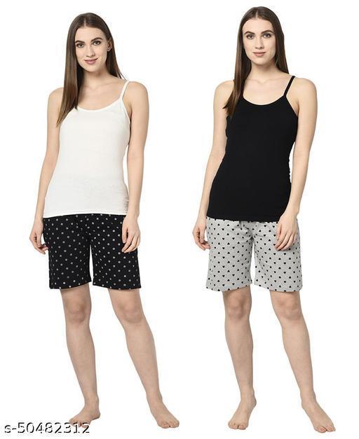 Le Espresso Women Casual Elastic Waist Pocketed Printed Pyjama Shorts - Pack of 2 - Black / Grey Melange