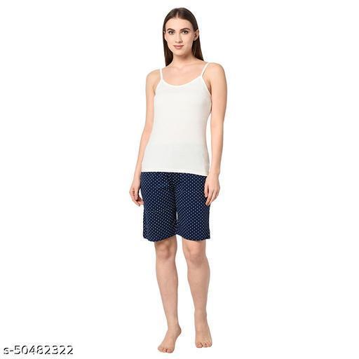 Le Espresso Women Casual Elastic Waist Pocketed Dot Printed Pyjama Shorts - Navy