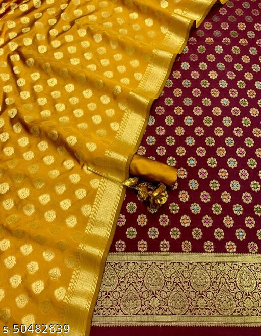 (18Maroon) Exclusive Weddings Special Banarsi Multi Mina Contrass Silk Suit And Dress Material