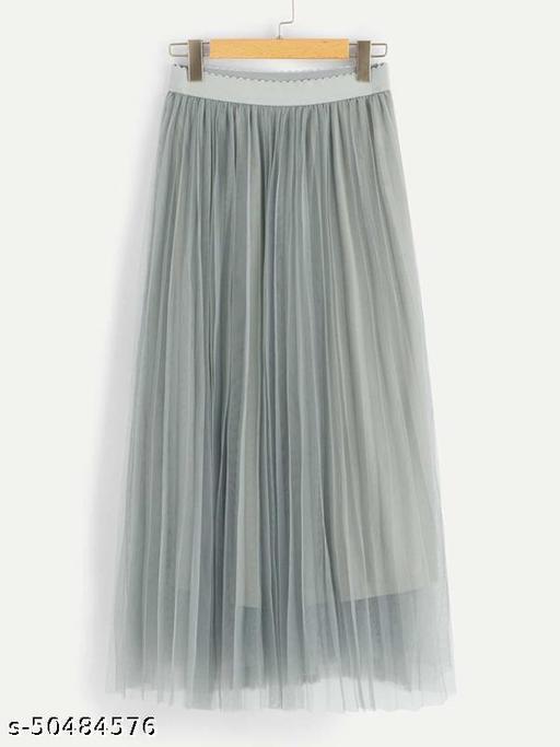 Wide Waist Pleated Mesh Skirt