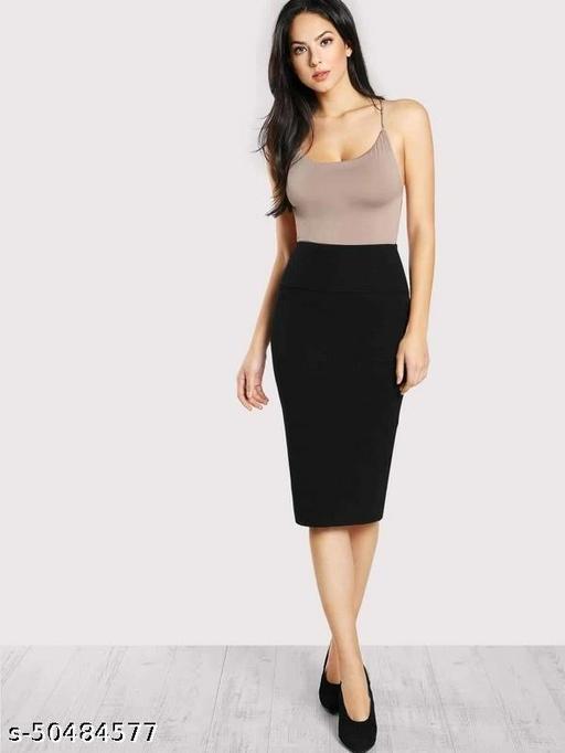 Elasticized High-Rise Pencil Skirt