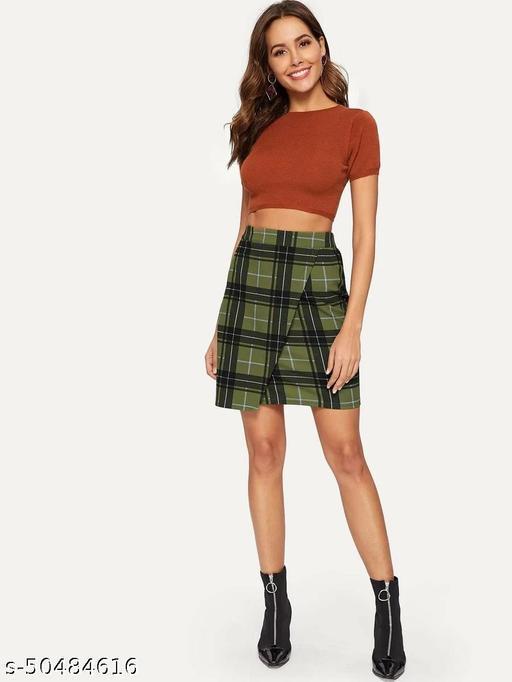 Plaid Print Overlap Skirt