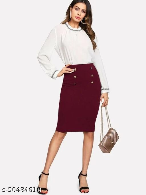Double Button Pencil Skirt