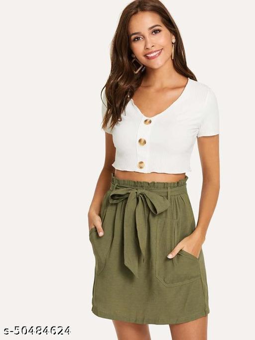 Frill Self Tie Waist Utility Skirt